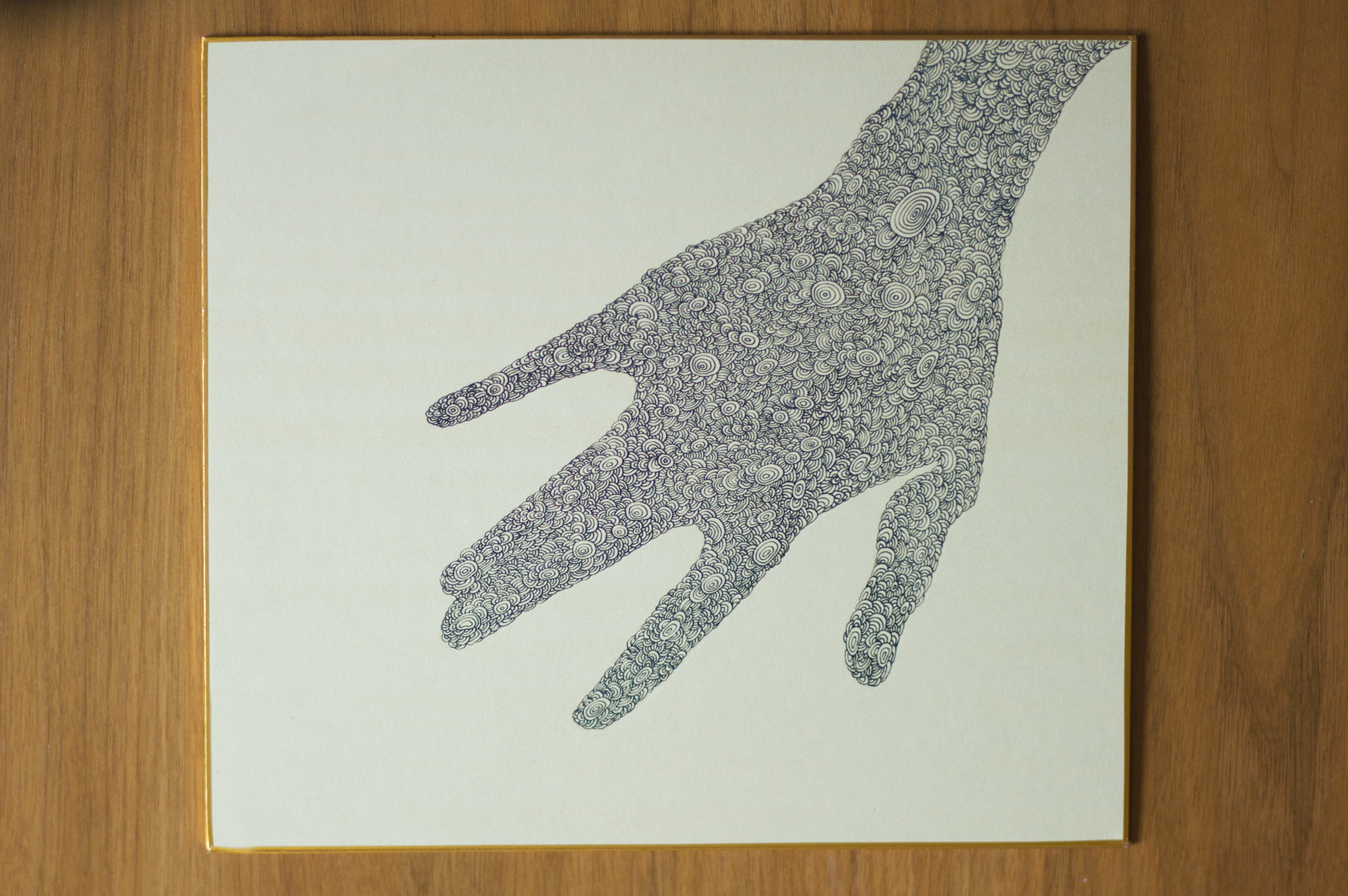 Hand One (Ink on Shikishi Paper, 27cm x 24cm)