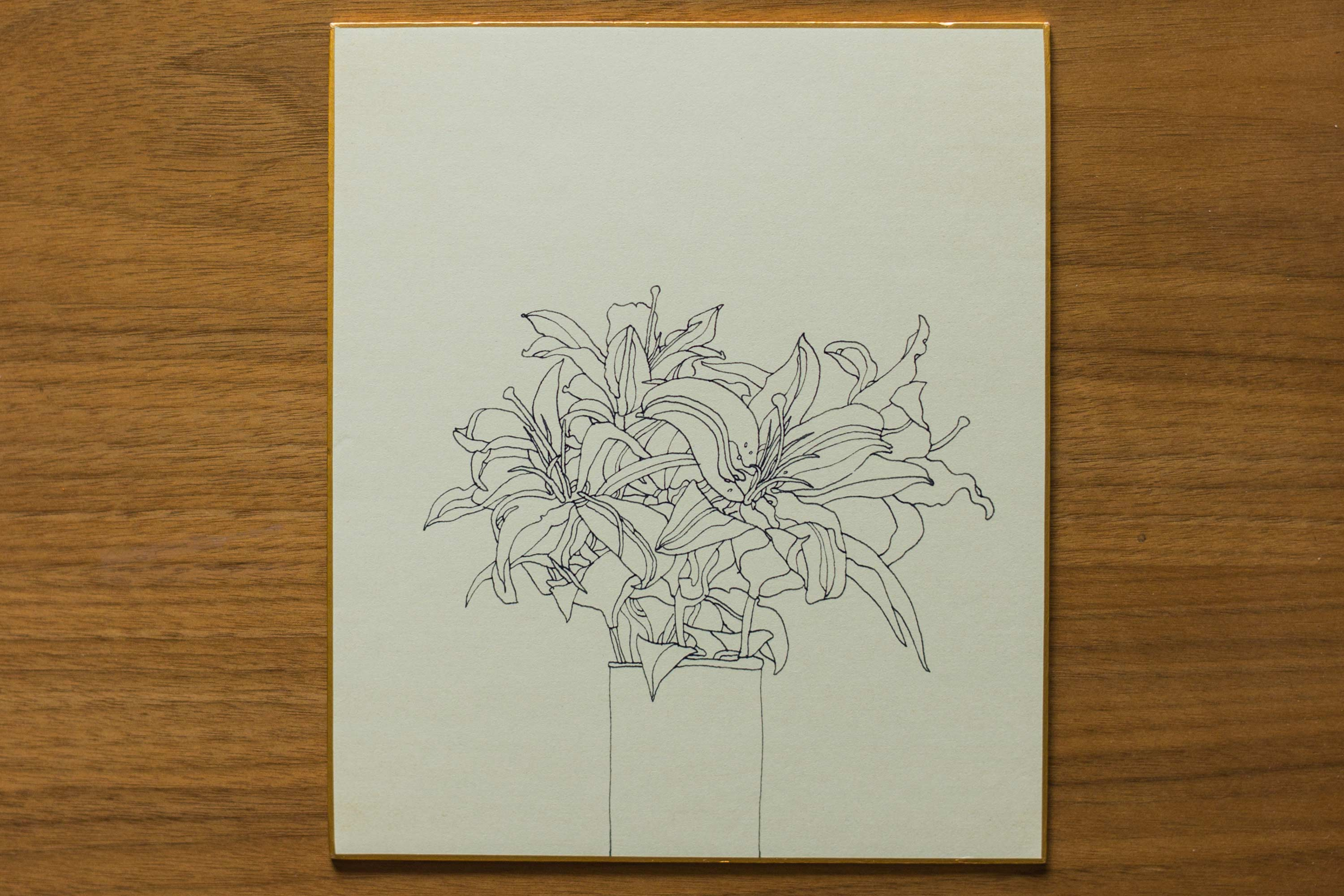 Drawing of Lillies (Ink on Shikishi Paper)